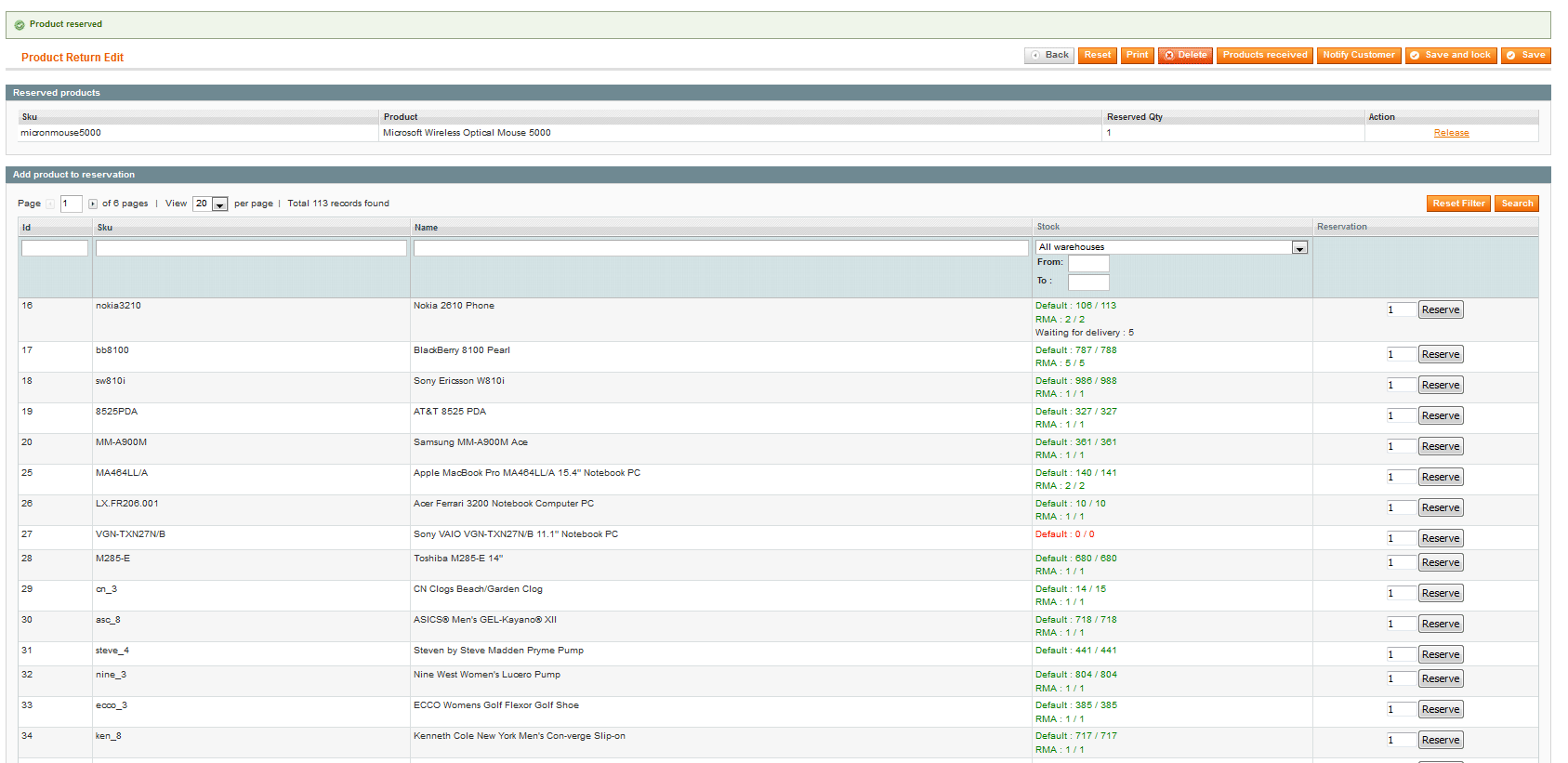 product return rma magento connect inventory management restocking destruction action selection for the returned product invoice additional services such as after s support