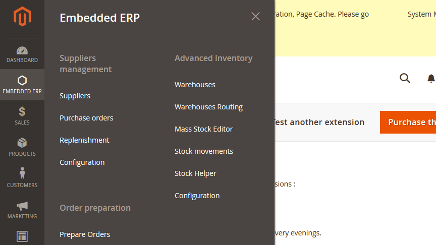 embedded erp magento 2 features