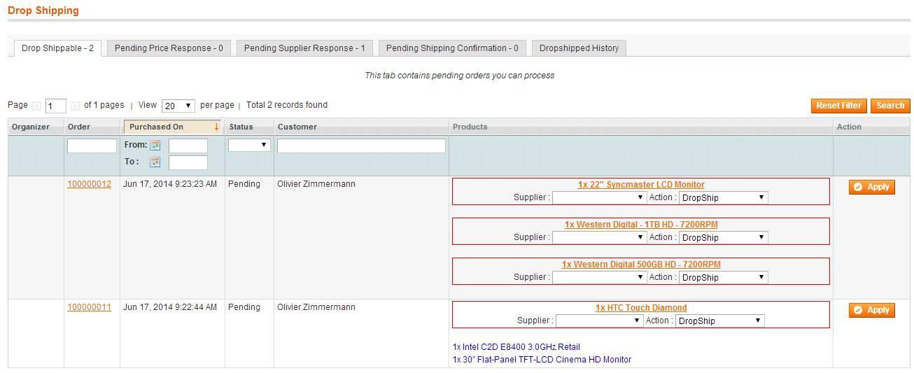 Magento Dropshipping Extension screen