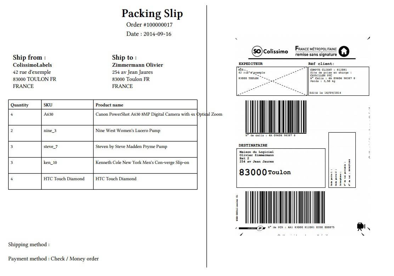 Etiquettes colissimo national - Mode de livraison suivi ...