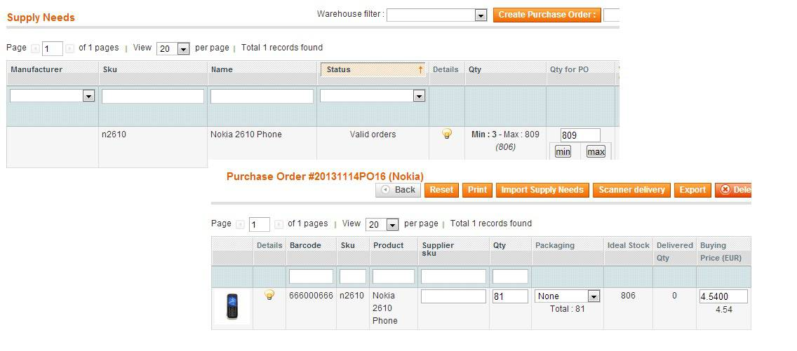 back order magento erp supply needs