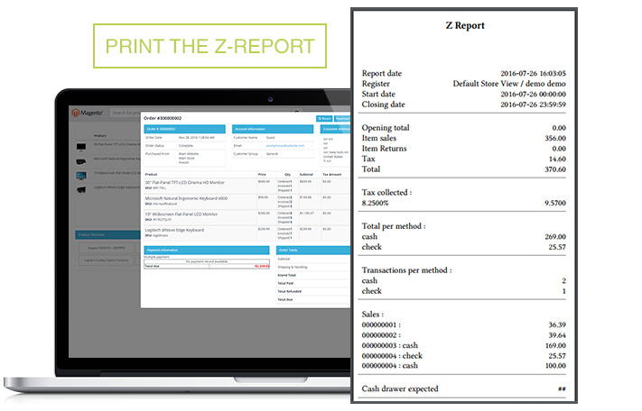 Screen pos Point of Sales M1 Z-Report