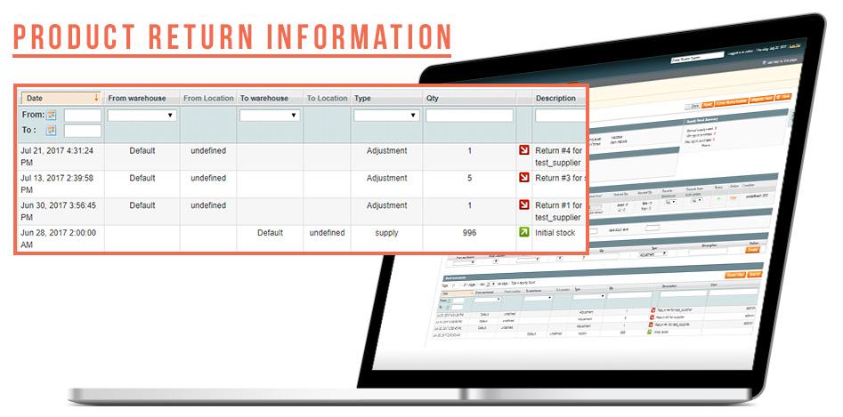 supplier return magento return to vendor information
