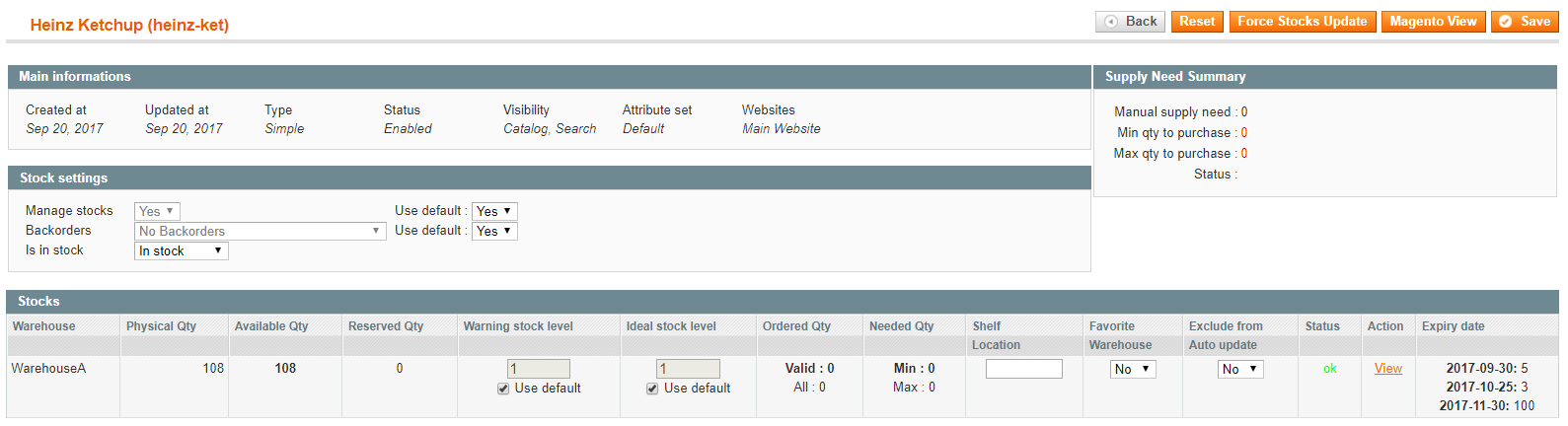 shelf life magento by product