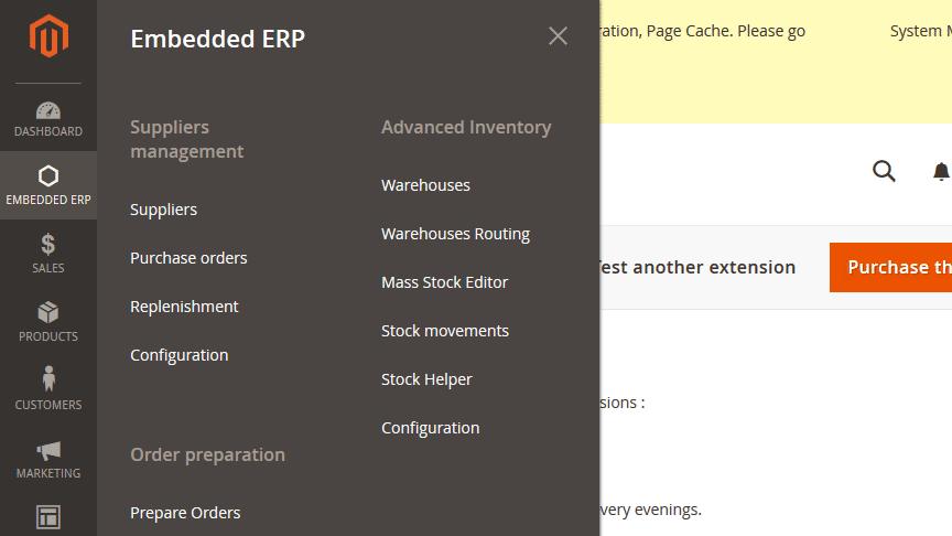 embedded erp magento 2 menu