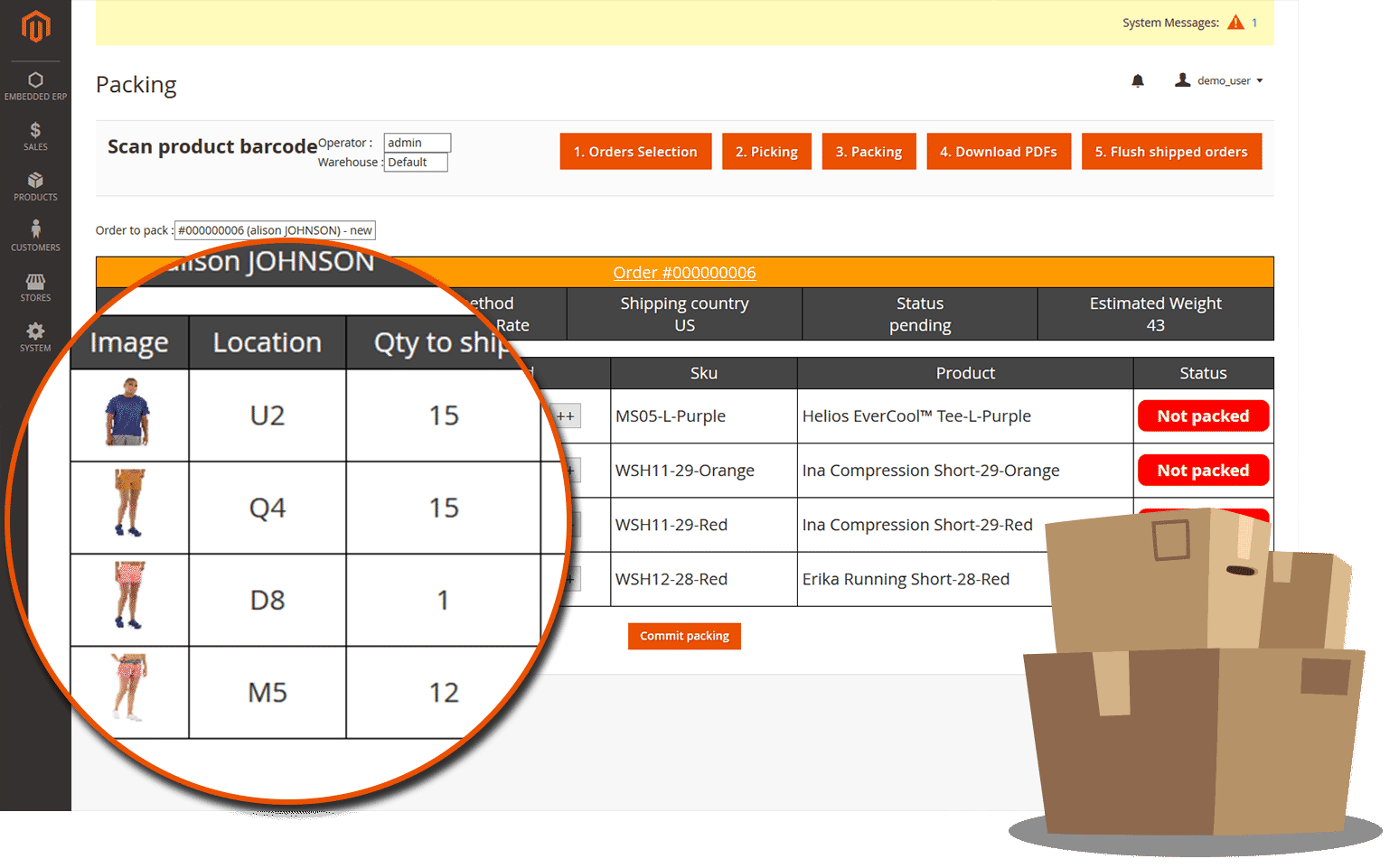 ERP magento 2 packing