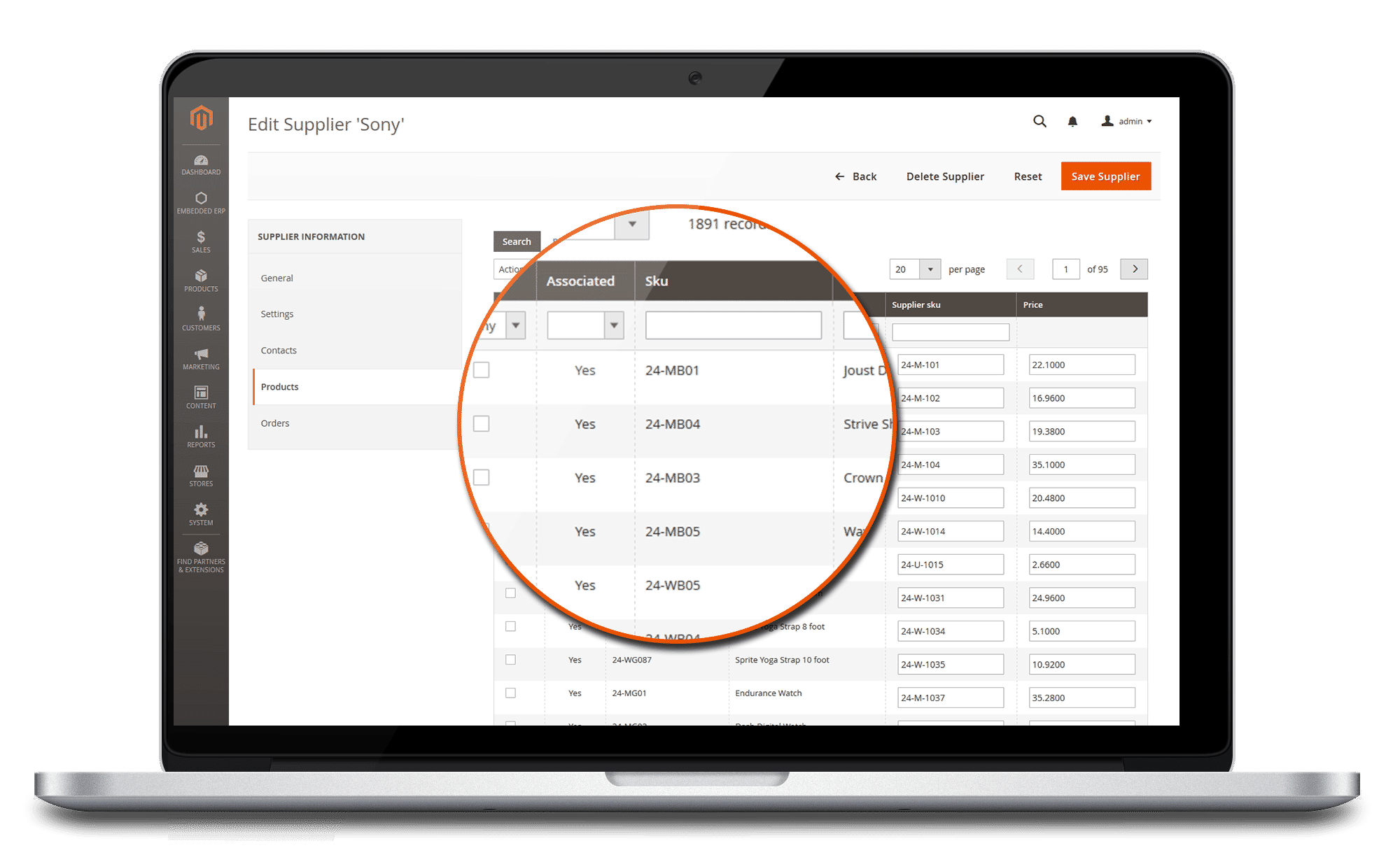 ERP magento 2 supplier= product