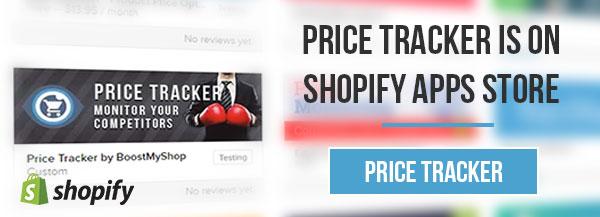 Price Tracker shopify screen