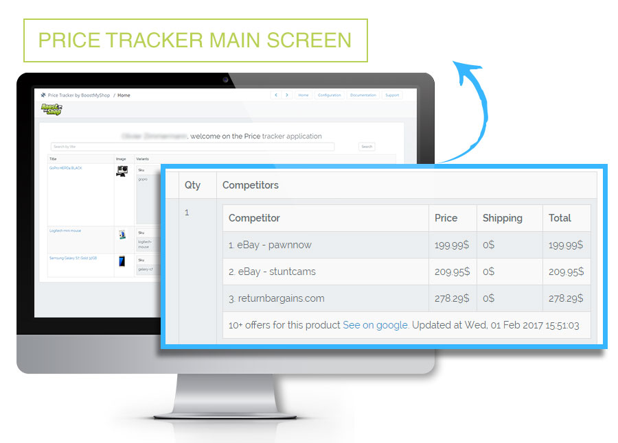 Price Tracker home screen
